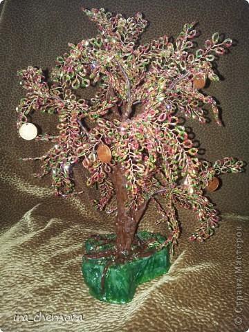 Еще одно денежное дерево осеннее, высота 35 см с подставочкой, высота подставки- 4 см, материал- рубка. фото 3