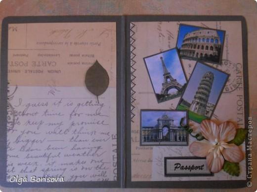Моя вторая обложечка на паспорт, надеюсь, не последняя. Это подарок девушке, которая любит путешествовать. Первая сторона обложки.  Картинки - рааспечатки фото из интернета. фото 2