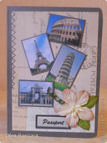 Моя вторая обложечка на паспорт, надеюсь, не последняя. Это подарок девушке, которая любит путешествовать. Первая сторона обложки.  Картинки - рааспечатки фото из интернета. фото 1