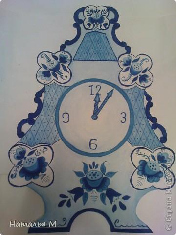 Гжельские часы