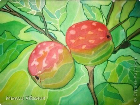еще несколько работ дочери...  это на кухню... яблоки.. фото 1