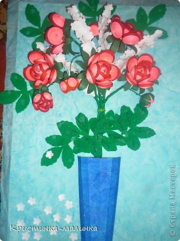 """Здравствуйте, жительницы, Страны Мастеров""""! Представляю на Ваш суд свою новую работу. Как раз сегодня и повод для этого имеется... Праздник """"Семьи, Любви и Верности. Букет состоит из роз с бутонами, сделанный по МК Ольги Ольшак, и цветов МК Елен 15.12. Спасибо им за подробный МК!  фото 1"""
