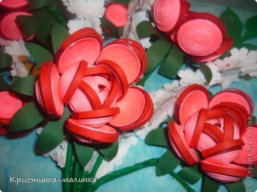 """Здравствуйте, жительницы, Страны Мастеров""""! Представляю на Ваш суд свою новую работу. Как раз сегодня и повод для этого имеется... Праздник """"Семьи, Любви и Верности. Букет состоит из роз с бутонами, сделанный по МК Ольги Ольшак, и цветов МК Елен 15.12. Спасибо им за подробный МК!  фото 5"""