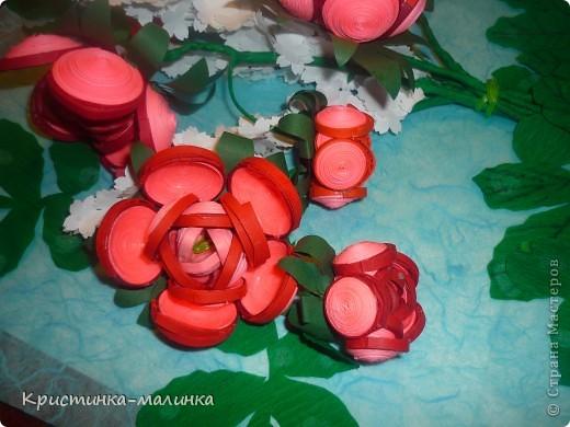 """Здравствуйте, жительницы, Страны Мастеров""""! Представляю на Ваш суд свою новую работу. Как раз сегодня и повод для этого имеется... Праздник """"Семьи, Любви и Верности. Букет состоит из роз с бутонами, сделанный по МК Ольги Ольшак, и цветов МК Елен 15.12. Спасибо им за подробный МК!  фото 6"""