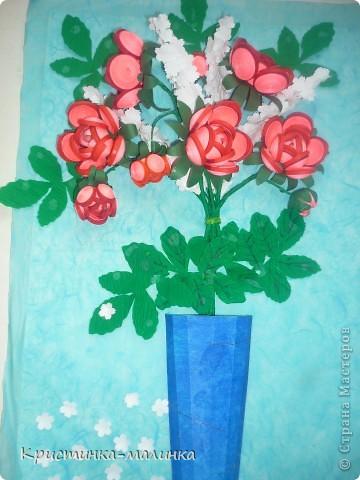 """Здравствуйте, жительницы, Страны Мастеров""""! Представляю на Ваш суд свою новую работу. Как раз сегодня и повод для этого имеется... Праздник """"Семьи, Любви и Верности. Букет состоит из роз с бутонами, сделанный по МК Ольги Ольшак, и цветов МК Елен 15.12. Спасибо им за подробный МК!  фото 2"""