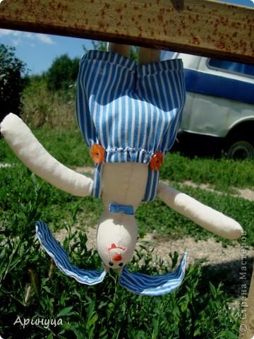 Вот он Зайчишка-шалунишка,Кирюша))))ушки у нас торчушки(внутри проволочка) фото 2