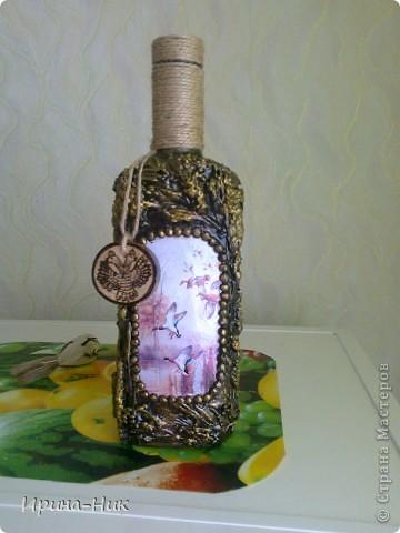 Сделала бутылочку в технике терра по МК Марии Спириной http://best-hand-made.net/post216188272/ фото 1