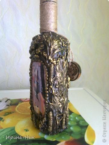 Сделала бутылочку в технике терра по МК Марии Спириной http://best-hand-made.net/post216188272/ фото 2
