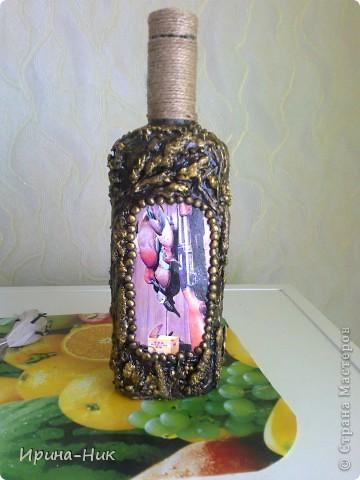 Сделала бутылочку в технике терра по МК Марии Спириной http://best-hand-made.net/post216188272/ фото 4