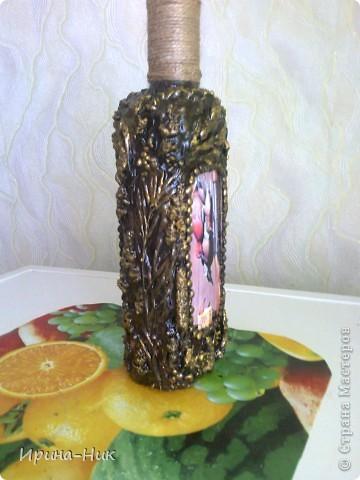 Сделала бутылочку в технике терра по МК Марии Спириной http://best-hand-made.net/post216188272/ фото 3