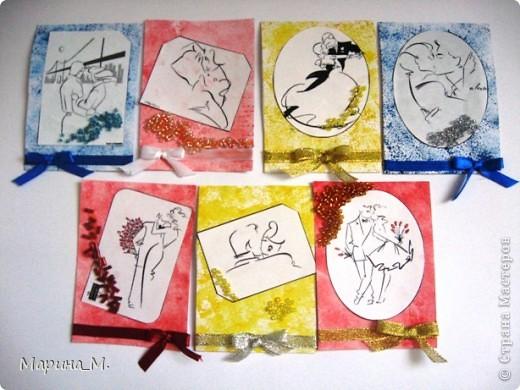 """Новая серия АТС """"Он и она"""" состоит из семи карточек. В работе использовала рисунки Тая Уилсона. фото 1"""