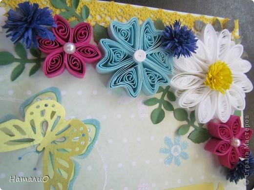 Здравствуйте, жители СМ! вчера у моей сестры был ДЕНЬ РОЖДЕНИЯ! и вот такую открыточку она получила в подарок! надпись взята у Марины Абрамовой http://marina-abramova.blogspot.com/ Попробовала сделать цветы в технике квиллинг... фото 2