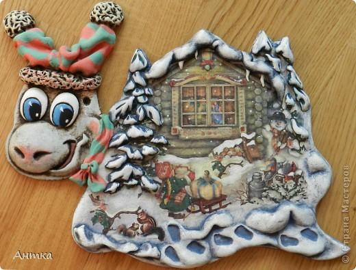 Картина панно рисунок Поделка изделие Сказка Новый год Декупаж Лепка На кануне Рождества  Гуашь Тесто соленое фото 1