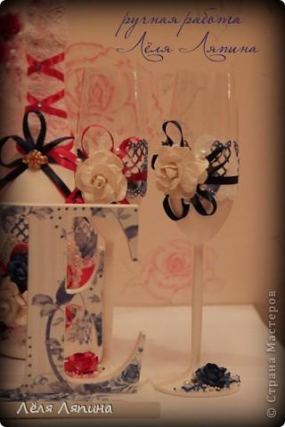 Свадебное. Палитра синий и малиновый. фото 2