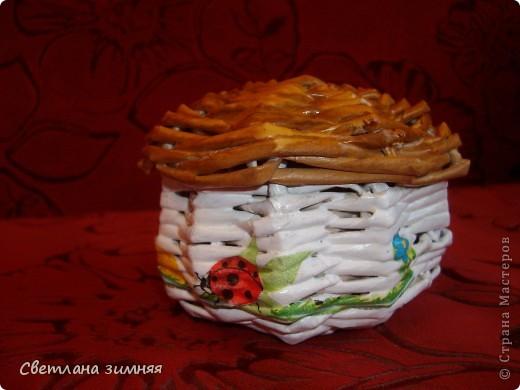 Грибок-шкатулка для мелочей.Мой первый опыт плетения по кругу.Ну и декупаж салфеткой,чтоб совсем страшно не выглядело. фото 1