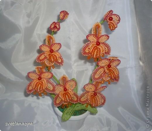 Поделка изделие Бисероплетение Орхидея Бисер Бусины фото 2.