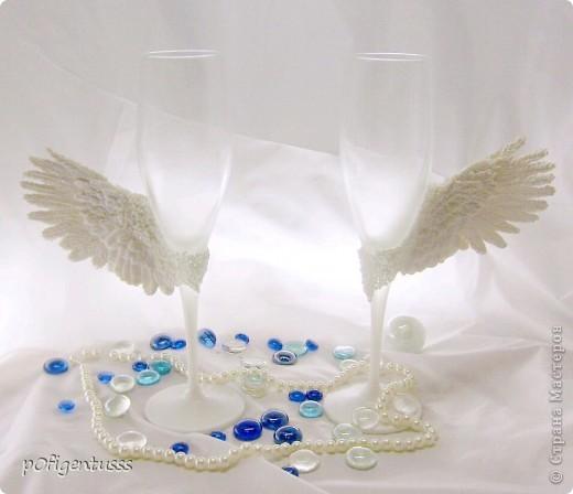 Крылья из Фимо классик бокалы тонированы акриловой краской жемчужного цвета фото 2