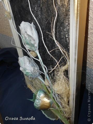 Вот такое панно я сделала в подарок на день рождения своей коллеге по работе. Я использовала сухие цветы лотоса, чубак лотоса и скелетированые  листья. Декорировала сизалью.. фото 4