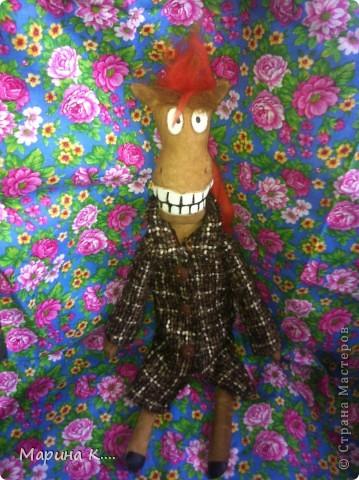 """Давно заглядываю в блог Юлии Моисеенко. Уж очень мне ее """"кони в пальто"""" нравятся. .. Вот по образу и подобию, так сказать, ее коня сшила и я своего. Выкройку строила сама. Дети просили, чтобы конь был похож на Юлия из мультфильма про Алешу Поповича. Рисую не очень, но старалась....))))  фото 6"""