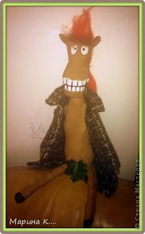 """Давно заглядываю в блог Юлии Моисеенко. Уж очень мне ее """"кони в пальто"""" нравятся. .. Вот по образу и подобию, так сказать, ее коня сшила и я своего. Выкройку строила сама. Дети просили, чтобы конь был похож на Юлия из мультфильма про Алешу Поповича. Рисую не очень, но старалась....))))  фото 2"""