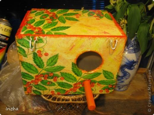 """Был обычный деревянный домик для попугаев.Решила добавить им радости в """"невольной """"жизни. фото 4"""