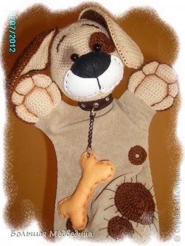 Всем привет! В пару к зайцу Муфуне наш домашний кукольный театр прирос вот таким песиком Тимошкой. Почему именно собачка? Да потому что в настоящее время это самое любимое животное ребенка. Прям с ума сходит по собачкам всех мастей.:-) фото 7