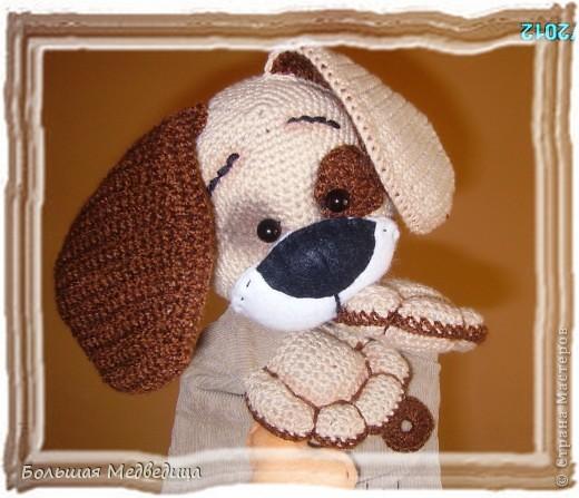 Всем привет! В пару к зайцу Муфуне наш домашний кукольный театр прирос вот таким песиком Тимошкой. Почему именно собачка? Да потому что в настоящее время это самое любимое животное ребенка. Прям с ума сходит по собачкам всех мастей.:-) фото 1