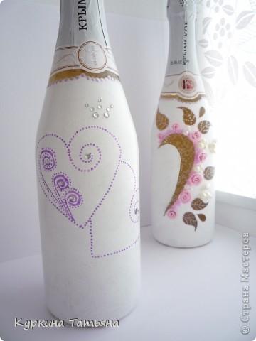 Всем заглянувшим на огонек привет! Вот такие бутылочки у меня получились. По моему лучше предыдущих. Когда они стоят рядом получается сердце. фото 5