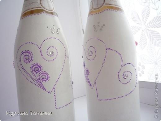 Всем заглянувшим на огонек привет! Вот такие бутылочки у меня получились. По моему лучше предыдущих. Когда они стоят рядом получается сердце. фото 6