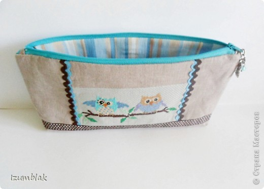 """Не могу остановиться, вышиваю совушек :)) Так и появилась эта косметичка, подходящая к сумке """"Совушки""""(http://stranamasterov.ru/node/377993)  фото 2"""