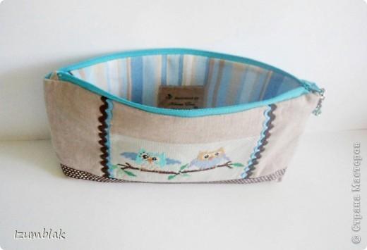 """Не могу остановиться, вышиваю совушек :)) Так и появилась эта косметичка, подходящая к сумке """"Совушки""""(http://stranamasterov.ru/node/377993)  фото 3"""