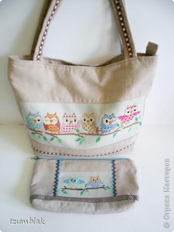 """Не могу остановиться, вышиваю совушек :)) Так и появилась эта косметичка, подходящая к сумке """"Совушки""""(http://stranamasterov.ru/node/377993)  фото 6"""