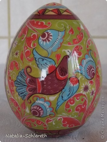 Яйцо выполнено в Борецкой росписи. Яйцо двустороннее-на каждой из половинок свое,но связанное общим замыслом,изображение. фото 1