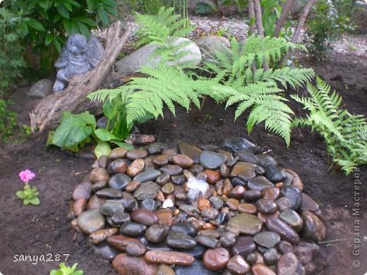 Этим летом нам захотелось, чтобы в саду появился небольшой водоем. Места для реализации идеи было немного, поэтому придумали вместо фонтана и прудика соорудить родничок, похожий на природный. Технология оказалась простой и не затратной, идею подсмотрели в интернете. Материалы: пластмассовый таз, насос для аквариума, различные камни. фото 3