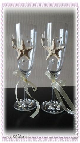 Фужеры на свадьбу с морской темтикой фото 7