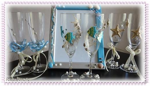 Фужеры на свадьбу с морской темтикой фото 1