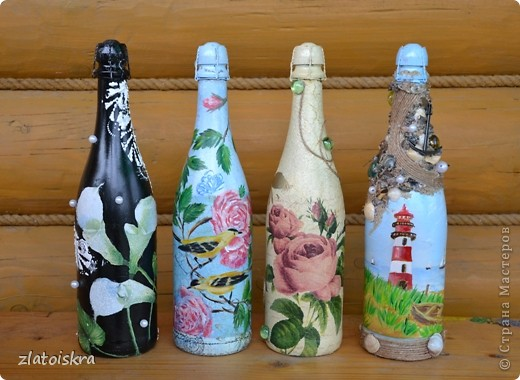 Здравствуйте, жители СМ! Сегодня я к вам с новыми декупажными бутылочками. Это первая их часть, остальные покажу позже, потому что и так получается очень много фото. фото 1