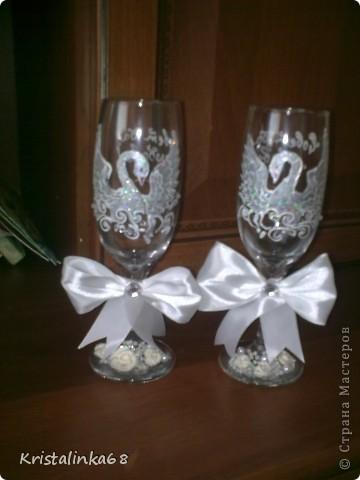 Мои первые свадебные бокалы. Но к сожалению пока последние((( фото 5