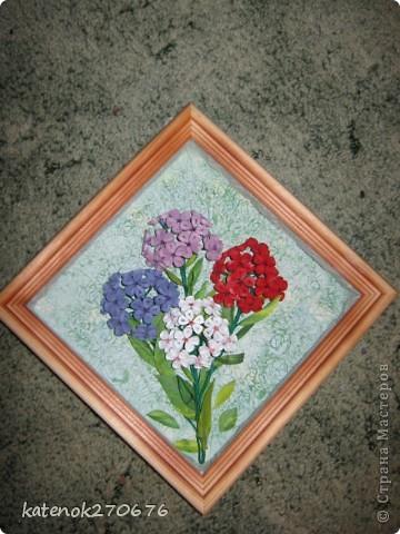 """Увидела на сайте картину с флоксами и захотелось себе тоже сделать. Уж очень понравилось делать объёмные цветы (делала сборку по типу """"сирень""""). Как получилось судить Вам. фото 2"""