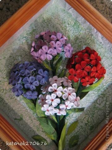 """Увидела на сайте картину с флоксами и захотелось себе тоже сделать. Уж очень понравилось делать объёмные цветы (делала сборку по типу """"сирень""""). Как получилось судить Вам. фото 1"""