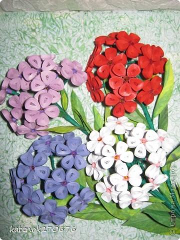 """Увидела на сайте картину с флоксами и захотелось себе тоже сделать. Уж очень понравилось делать объёмные цветы (делала сборку по типу """"сирень""""). Как получилось судить Вам. фото 3"""