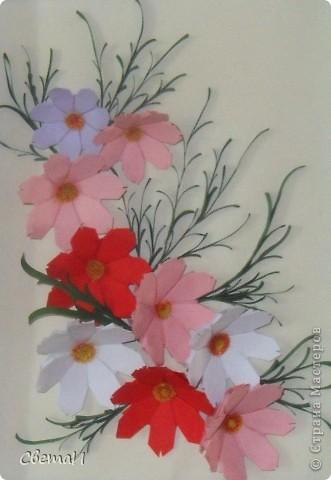 Очень уж мне понравилась космея. Вот я и решила сделать панно с этими нежными цветочками. фото 2