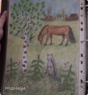 несколько рисунков из альбома) большая часть рисунков школьные)!храню как реликвию))) кота в 15 рисовала) опробовала новый набор акварельных карандашей) фото 8