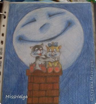 несколько рисунков из альбома) большая часть рисунков школьные)!храню как реликвию))) кота в 15 рисовала) опробовала новый набор акварельных карандашей) фото 15