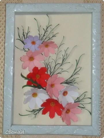 Очень уж мне понравилась космея. Вот я и решила сделать панно с этими нежными цветочками. фото 1