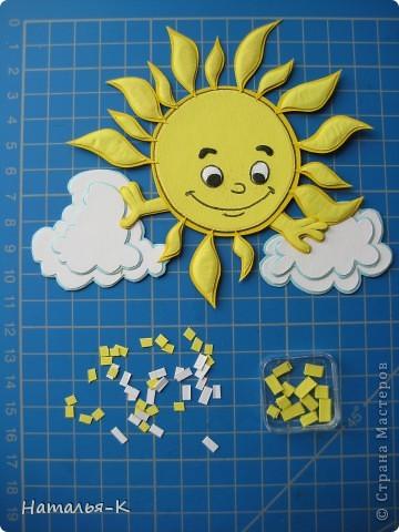 Нашла в интернете картинку солнышка, оно мне понравилось.  Покажу как очень просто сделать объёмную аппликацию. фото 3