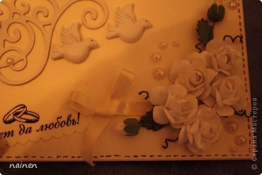 Свадьба не моя, моя отгремела 2 года назад. Совсем скоро моя сестренка отправится на свадьбу подруги. Всё это для нее и ее избранника. Открытка и конвертик для денежного подарка :) фото 5