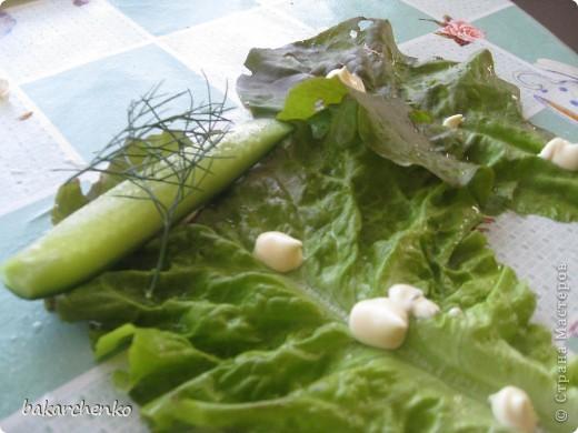Берем листья салата. Выкладываем их на стол фото 4