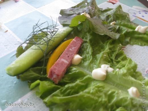 Берем листья салата. Выкладываем их на стол фото 5