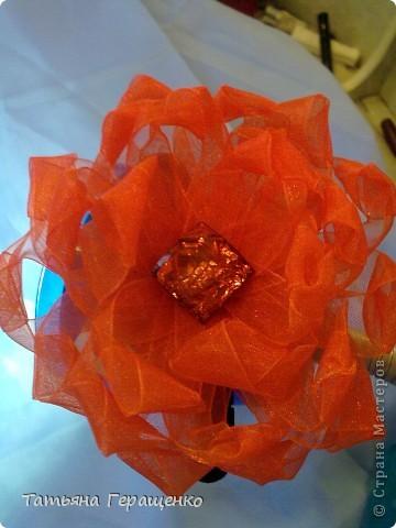 Вот такой цветочек из капроновой тонкой ленты фото 1